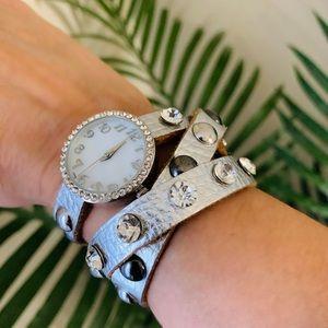Francesca's Silver Leather Triple Wrap Watch